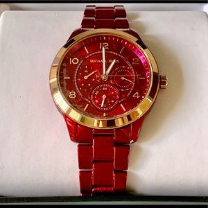 Michael Kors Runway Red Dial Ladies Watch MK6594